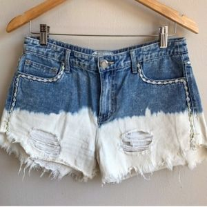 Free People Ombre Denim Distressed Shorts
